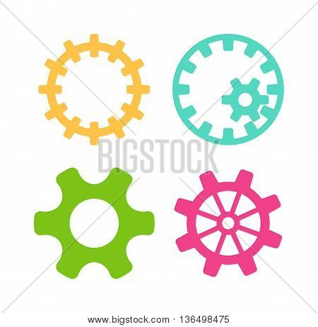 Vector gears icons set machine wheel mechanism machinery mechanical, technology technical sign. Engineering symbol, round element gears icons. Gears icons work concept, industrial design.