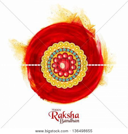 Beautiful floral design decorated, Rakhi on abstract watercolor background for Indian Festival of Brothers and Sisters, Happy Raksha Bandhan celebration.