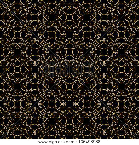 The pattern with decorative ornament in vintage style on black background