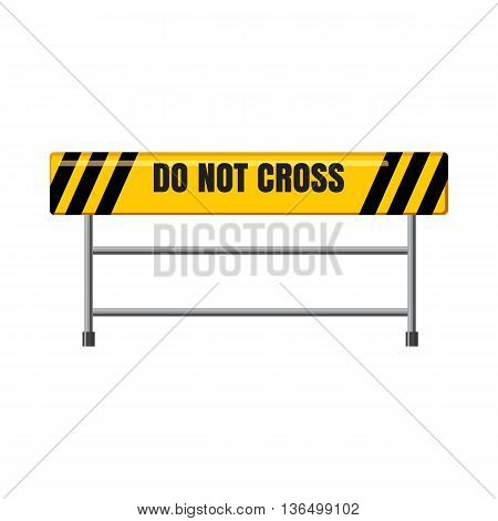 Do not cross traffic barrier icon in cartoon style on a white background