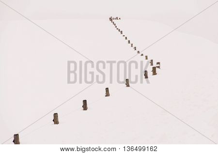 Abstract photo of a post and wire fence on a snowy hill.