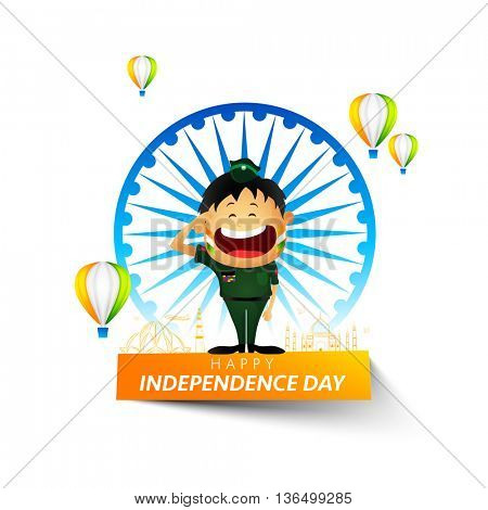 Saluting Army Officer on occasion of Happy Independence Day, Creative background with Big Ashoka Wheel, Indian Flag Color Hot Air Balloons and Famous Monuments, Indian National Festival celebration.