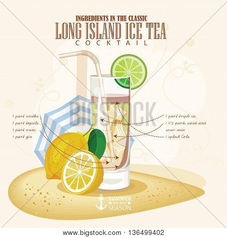 Vector illustration of popular alcoholic cocktail. Long Island ice tea club alcohol shot.