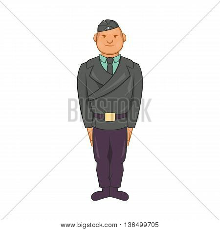 Man in a police uniform icon in cartoon style on a white background