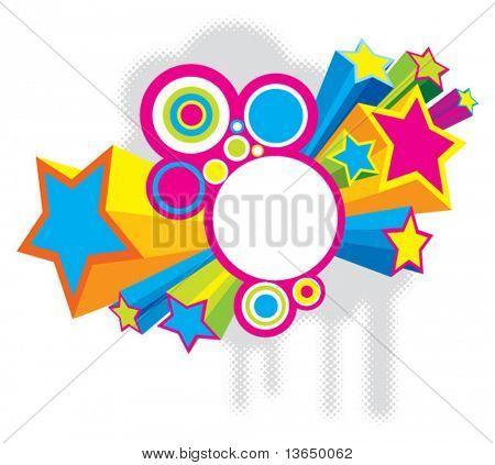 Beautiful colored disco stars. vector