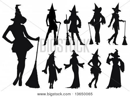 Silhouettes of sexy witches. vector.