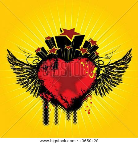 background with wings and heart. vector