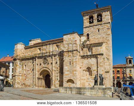 Church Of San Juan Bautista In Zamora Mayor Square. Spain