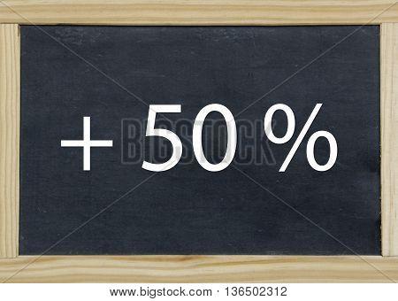 + 50 % written on a chalkboard