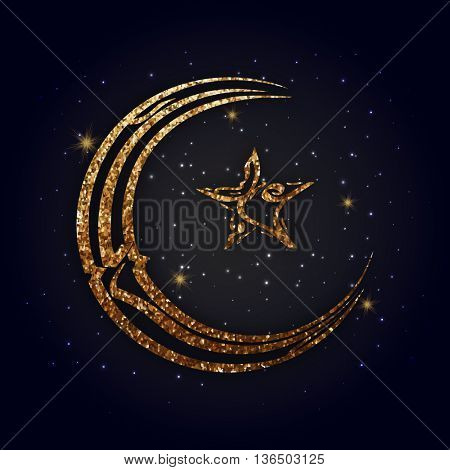 Golden Glittering Arabic Islamic Calligraphy of text Eid Mubarak in Crescent Moon and Star shape on shiny background, Concept for Muslim Community Holy Festival celebration.