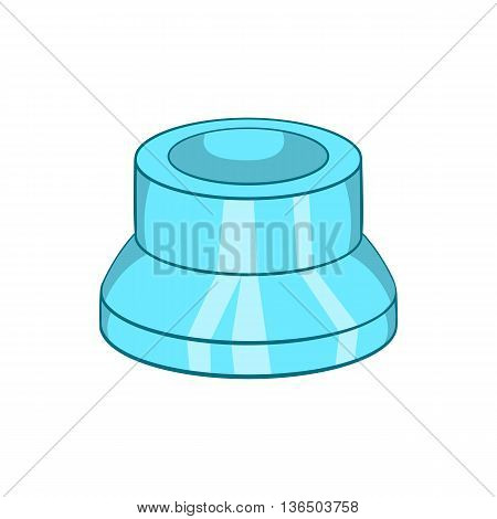 Transparent plastic cap icon in cartoon style on a white background