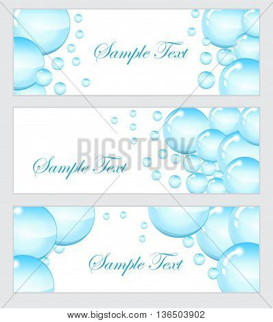 Set of soap bubbles water droplets banner. Banner template with bubbles. Colored soap bubbles banner. Vector illustration