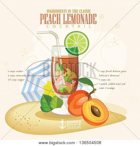 Vector illustration of popular alcoholic cocktail. Peach Lemonade club alcohol shot.