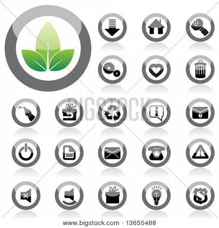 Glossy Icon Set for Web Applications. Vector