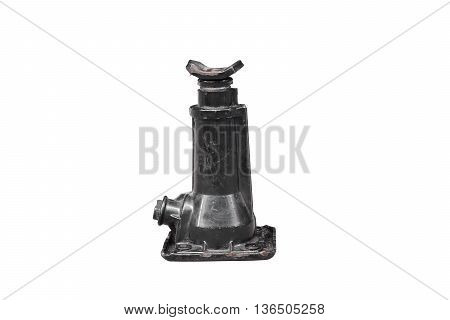 Old and dirty hydraulic bottle jack isolated on white background with clipping path