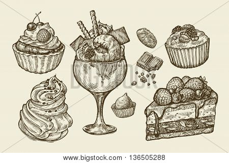 Food, dessert. Hand-drawn ice cream, meringue, cupcake, chocolate, piece of cake, pastry candy muffin Sketch vector illustration