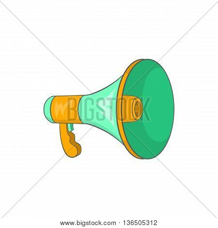 Green loudspeaker icon in cartoon style on a white background