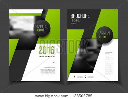 Green Annual Report Vector Illustration. Brochure With Text. A4 Size Corporate Business Brochure Cov