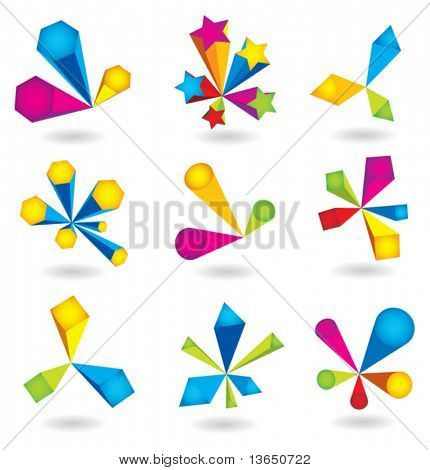 Vector collection of abstract elements.