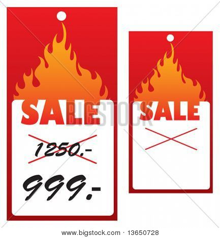 Vector price tag with flame.