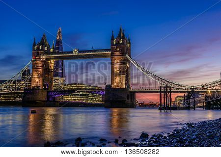 Tower Bridge in London, UK, just after sunset