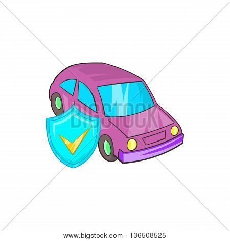 Car insurance icon in cartoon style on a white background