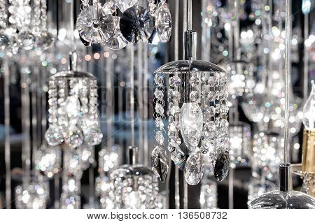 Chrystal chandelier close up , Glamour background