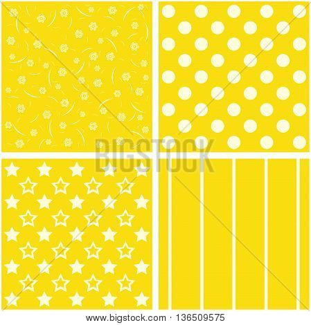 Set of 4 backgrounds in yellow tones