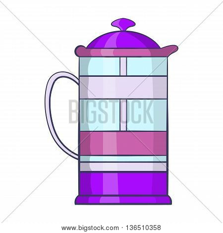 French press coffee maker icon in cartoon style on a white background