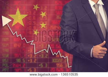 Flag Of China. Downtrend Stock Data Diagram With Business Man Vintage Color
