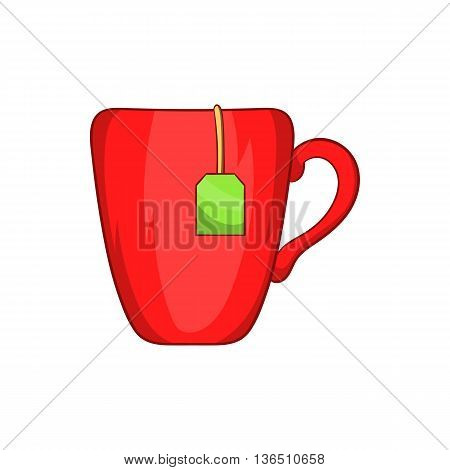 Red cup with tea bag icon in cartoon style on a white background
