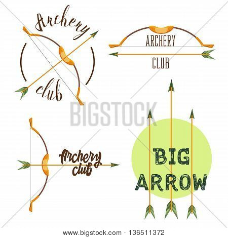 Archery club logo set. Sport emblem with weapon, shooting vector illustration