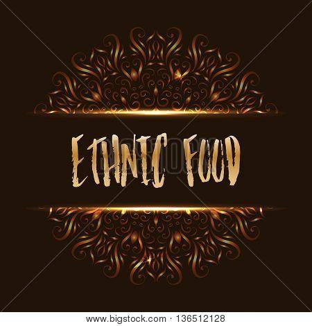 Ethnic food logo mandala design for cafe or restaurant menu. Vector illustration