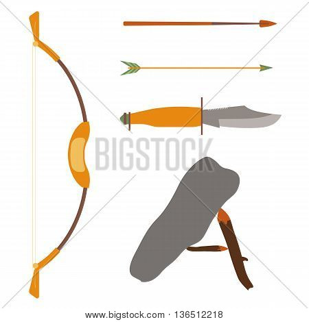 Ancient history hunting objects. Weapon arrow and bow, traditional medieval weapon. Vector illustration