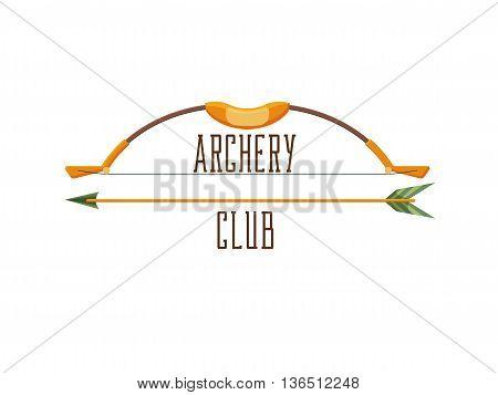 Archery club logo. Sport emblem with weapon, shooting illustration
