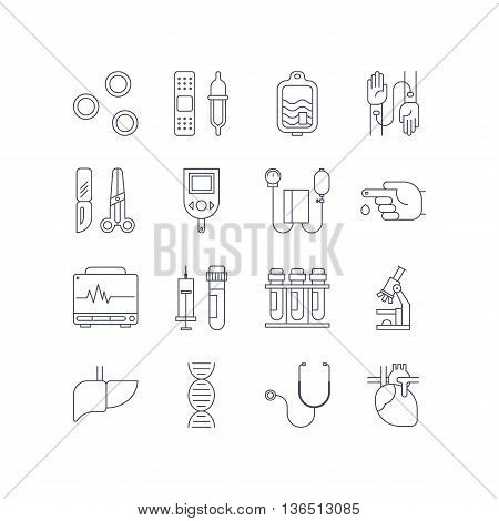 Medical icon set made in line style. Vector blood and heart tests pictorgam collection.