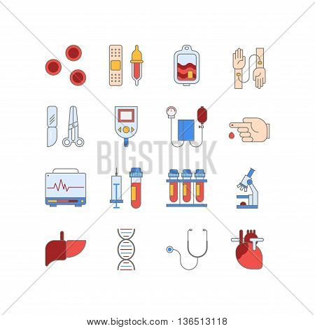 Colorful medical icon set made in line style. Vector blood and heart tests pictorgam collection.