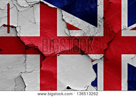 Flags Of London And Uk Painted On Cracked Wall