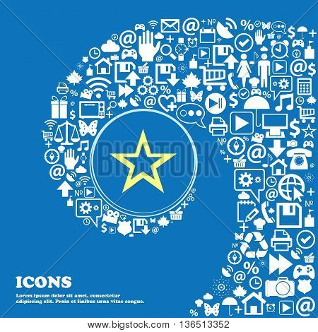 Star Sign Icon. Favorite Button. Navigation Symbol . Nice Set Of Beautiful Icons Twisted Spiral Into