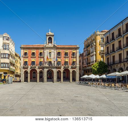 Zamora Spain - June 20 2016: Principal facade of new town hall in mayor square of Zamora Castilla y Leon. Spain.