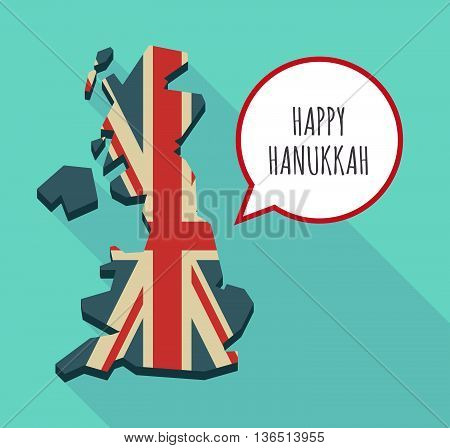 Long Shadow United Kingdom Map With    The Text Happy Hanukkah