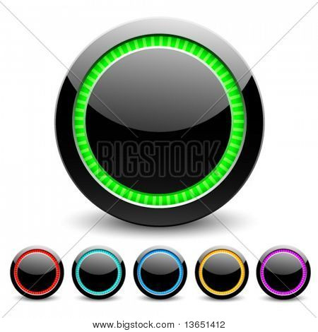 Black glance buttons for web design. Vector.