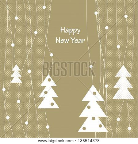 Cover design for the greeting card.Decoration with the white Christmas Trees with toys on them on the beige background with the white dots.