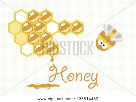 Vector painting with the bee and honeycomb.