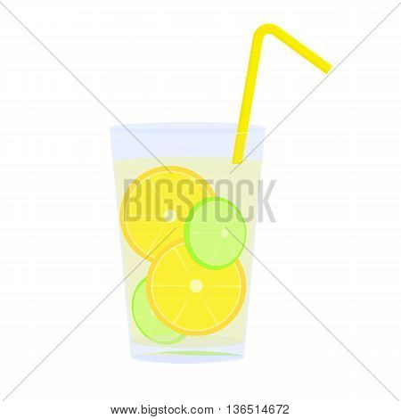 Icon of glass with lemonade, straw and citrus slices vector illustration catroon