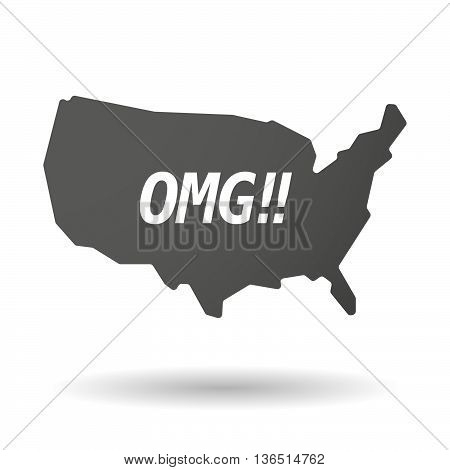 Isolated Usa Map Icon With    The Text Omg!!