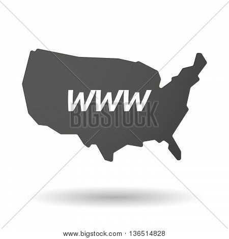 Isolated Usa Map Icon With    The Text Www