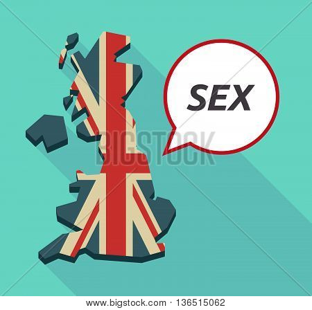 Long Shadow United Kingdom Map With    The Text Sex