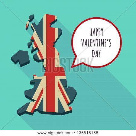 Long Shadow United Kingdom Map With    The Text Happy Valentines Day