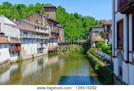 a view on the village Saint Jean Pied De Port in the French Pyrenees
